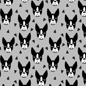 boston terrier // small xtra small grey dog dog heads cute dog breed fabric