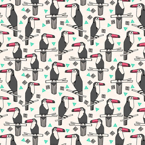 toucan // toucans bird birds tropical palm print cute palms fabric by andrea_lauren on Spoonflower - custom fabric