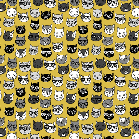 cat faces // tiny version cute cats mustard yellow cat faces fabric by andrea_lauren on Spoonflower - custom fabric