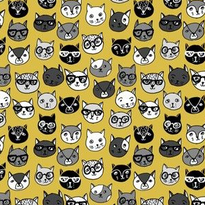 cat faces // tiny version cute cats mustard yellow cat faces