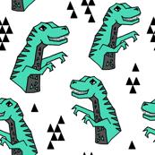 dinosaurs // dino dinosaurs kids baby boys triangles trex t-rex jurassic dinosaurs prehistoric green