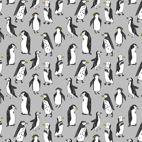 Huddle of Penguins - Slate (Tiny Version) by Andrea Lauren fabric by andrea_lauren on Spoonflower - custom fabric