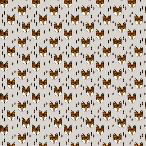 fox // geometric fox head kids nursery baby foxes woodland animal grey boys gender neutral kids design fabric by andrea_lauren on Spoonflower - custom fabric