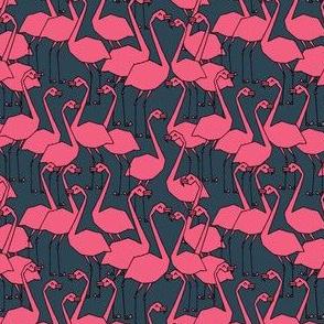 Flamingos - Parisian Blue/Pink (Tiny Version) by Andrea Lauren