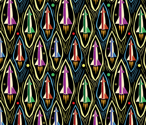 Rocket launch fabric vinpauld spoonflower for Rocket fabric