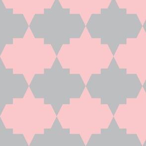 Modern Aztec Quatrefoil Coral Gray