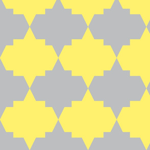 Modern Aztec Quatrefoil Yellow Gray