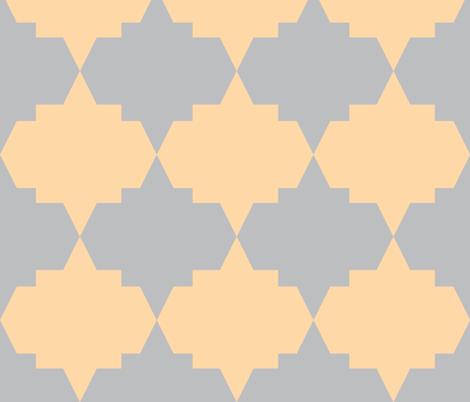Aztec Quatrefoil Peach Gray fabric by arm_pillozzz on Spoonflower - custom fabric