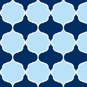 Hexafoil Baby Blue Navy White