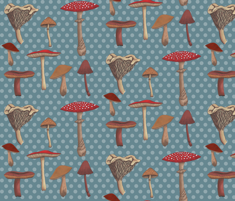 Mushroom Madness Two with Polka Dots fabric by bella_modiste on Spoonflower - custom fabric