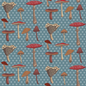 Mushroom Madness Two with Polka Dots