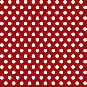 Mushroom Madness Polka Dots White on Red