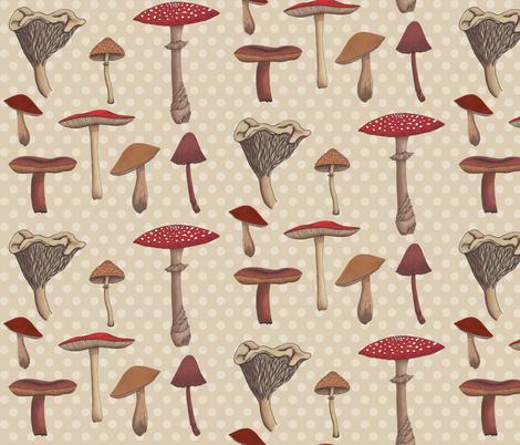Mushroom Madness Two Polka Dots in Cream fabric by bella_modiste on Spoonflower - custom fabric