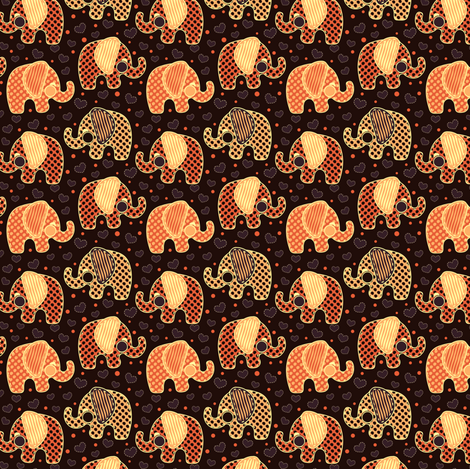 Baby Elephants & Hearts Orange Black fabric by eppiepeppercorn on Spoonflower - custom fabric