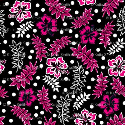 Tropical Hibiscus Pink Black White