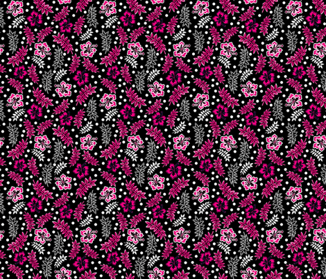 Tropical Hibiscus Pink Black White fabric by eppiepeppercorn on Spoonflower - custom fabric