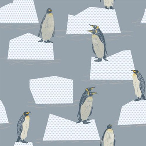 penguins on icebergs