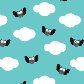 Dreamy clouds and owls in the sky blue illustration pattern
