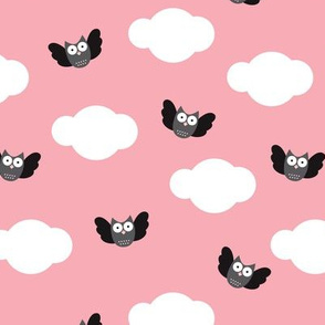 Dreamy clouds and owls in the sky pink pastel illustration pattern