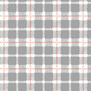 Grey, White, & Peachy Pink Plaid