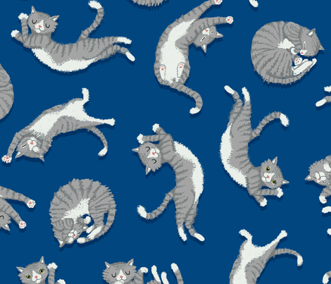 grey_cats_on_blue fabric by kirsten_sevig on Spoonflower - custom fabric