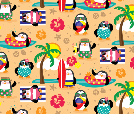 Penguins In Paradise fabric by lisa_kubenez on Spoonflower - custom fabric