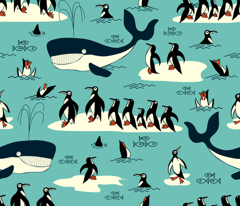 penguins and friends fabric by chicca_besso on Spoonflower - custom fabric