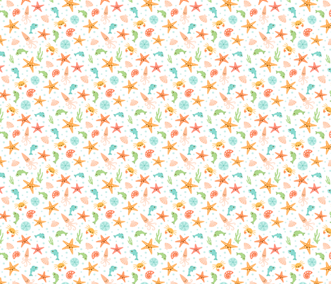 Kawaii sea life pattern with starfish crabs fish and for Fish pattern fabric