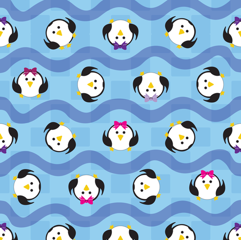 Tumbling Penguins fabric by illustrative_images on Spoonflower - custom fabric