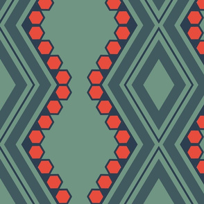 Red Hex on green