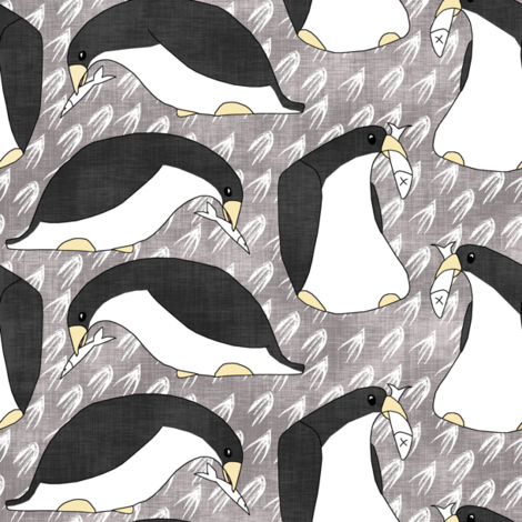 Contest Penguins and Fish fabric by pond_ripple on Spoonflower - custom fabric