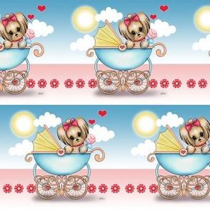 Yorkie Baby Girl Stroller  M