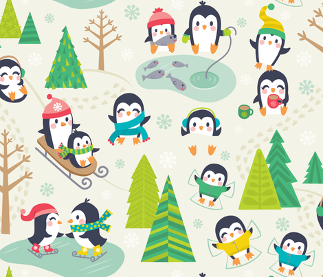 PenguinPlay_large-01 fabric by laura_mayes on Spoonflower - custom fabric