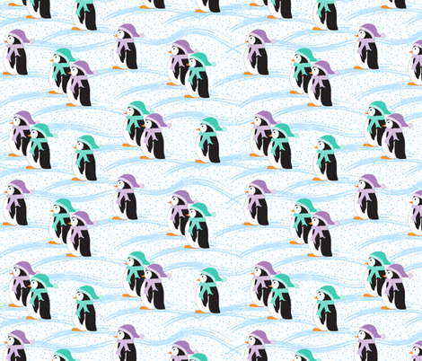 Penguins on Parade (white) fabric by jjtrends on Spoonflower - custom fabric