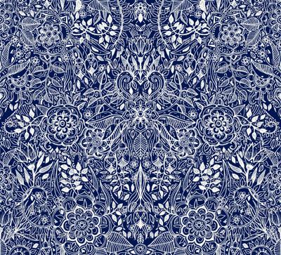Detailed Botanical Doodle - White on Navy Blue