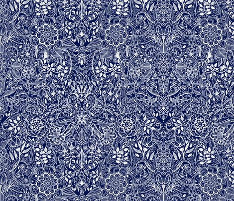 Detailed Botanical Doodle - White on Navy Blue fabric by micklyn on Spoonflower - custom fabric