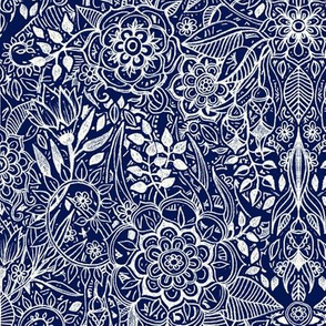 Detailed Botanical Doodle - White on Navy Blue