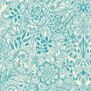 Detailed Botanical Doodle - Teal on Cream