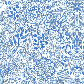 Detailed Botanical Doodle - Blue on White