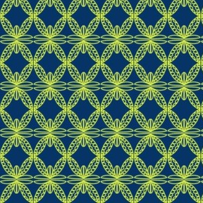 Petal Crochet Lace Yellow Navy