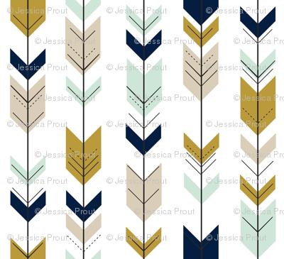 Fletching Arrows // Mint/Tan/Gold/Navy
