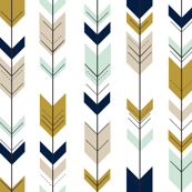 Fletching Arrows // Mint/Tan/Gold/Navy