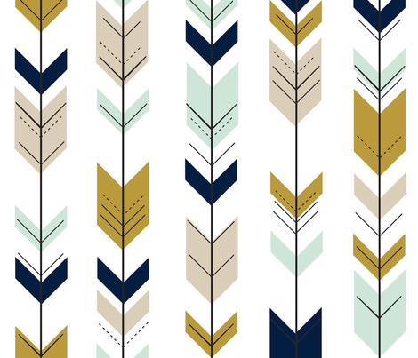 Fletching Arrows // Mint/Tan/Gold/Navy fabric by littlearrowdesign on Spoonflower - custom fabric