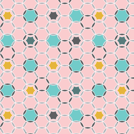 Round About - Geometric Hexagon Dot Pink fabric by heatherdutton on Spoonflower - custom fabric