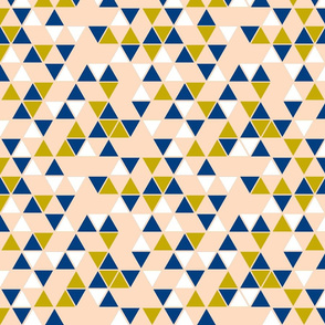 peach, gold, navy, white triangles