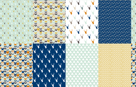 Mint Orange Navy Gold Coordinates fabric by mrshervi on Spoonflower - custom fabric