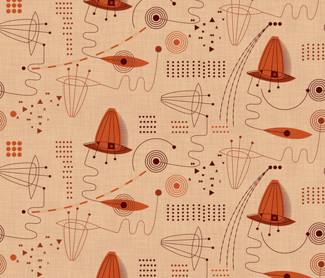 Red Planet Project Plan fabric by spellstone on Spoonflower - custom fabric