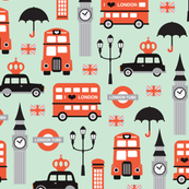 London city travel icon umbrella big ben and red bus illustration Great Britain pattern