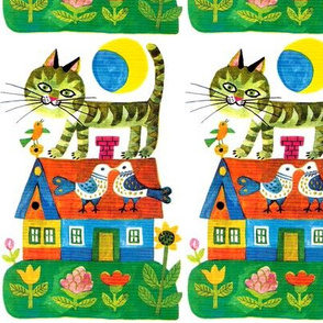 vintage retro kitsch cats pussy pussies sun moon birds houses cottages gardens flowers sunflowers roof