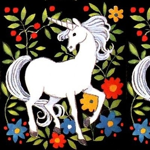 vintage retro kitsch unicorns fantasy myths mythical mythology flowers leaf leaves folk fairy tales